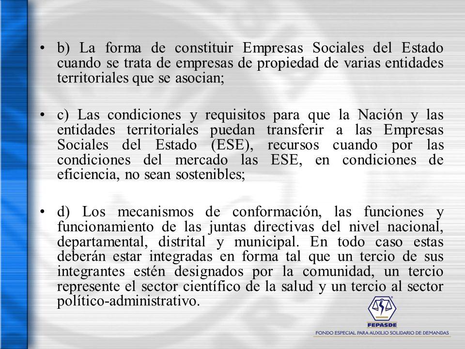 b) La forma de constituir Empresas Sociales del Estado cuando se trata de empresas de propiedad de varias entidades territoriales que se asocian; c) L