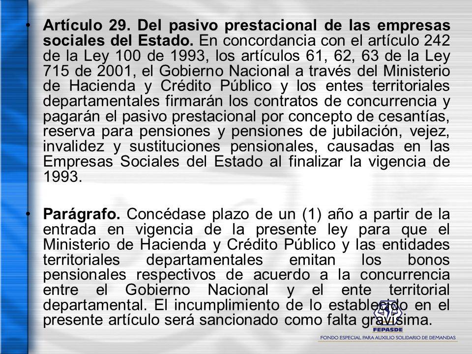 Artículo 29. Del pasivo prestacional de las empresas sociales del Estado. En concordancia con el artículo 242 de la Ley 100 de 1993, los artículos 61,