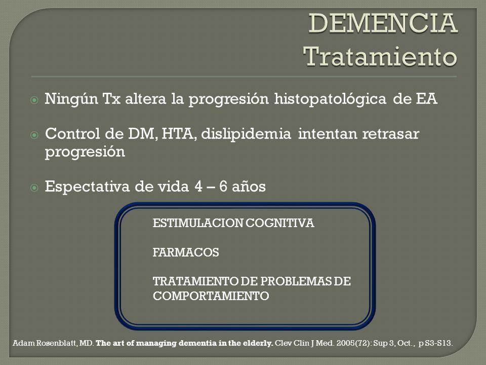 Ningún Tx altera la progresión histopatológica de EA Control de DM, HTA, dislipidemia intentan retrasar progresión Espectativa de vida 4 – 6 años ESTI