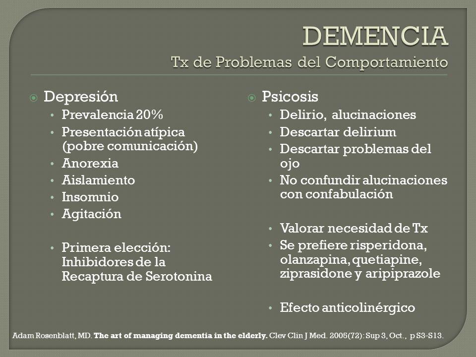 Depresión Prevalencia 20% Presentación atípica (pobre comunicación) Anorexia Aislamiento Insomnio Agitación Primera elección: Inhibidores de la Recapt