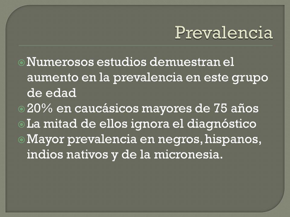 Numerosos estudios demuestran el aumento en la prevalencia en este grupo de edad 20% en caucásicos mayores de 75 años La mitad de ellos ignora el diag