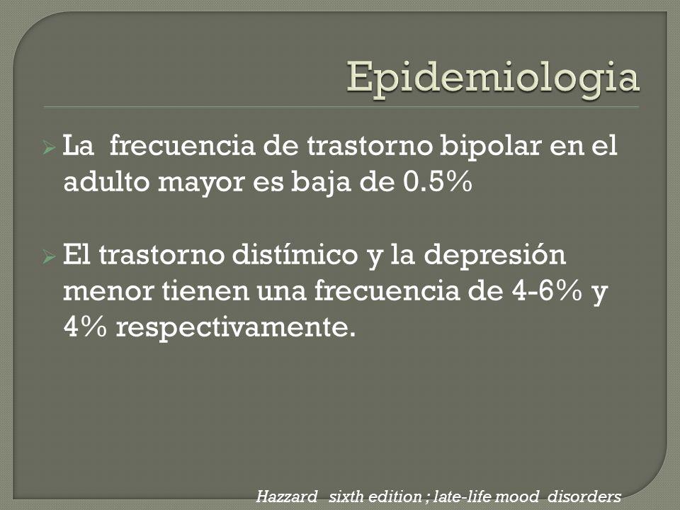 La frecuencia de trastorno bipolar en el adulto mayor es baja de 0.5% El trastorno distímico y la depresión menor tienen una frecuencia de 4-6% y 4% r