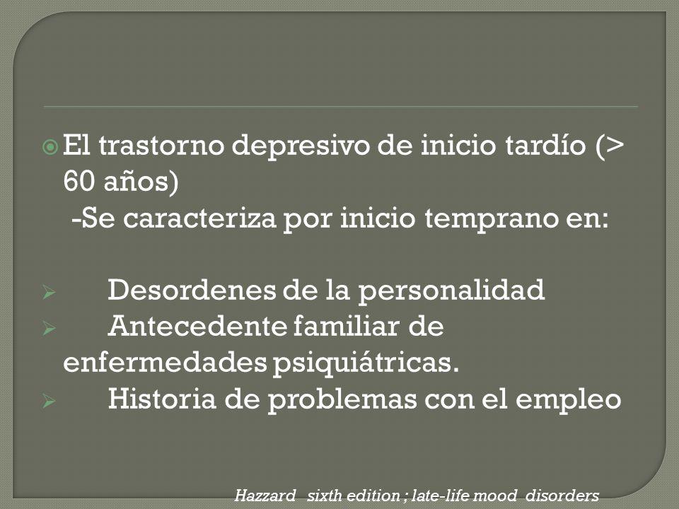 El trastorno depresivo de inicio tardío (> 60 años) -Se caracteriza por inicio temprano en: Desordenes de la personalidad Antecedente familiar de enfe