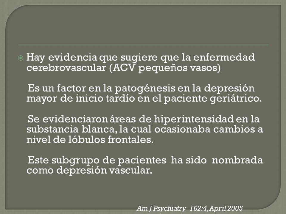 Hay evidencia que sugiere que la enfermedad cerebrovascular (ACV pequeños vasos) Es un factor en la patogénesis en la depresión mayor de inicio tardío