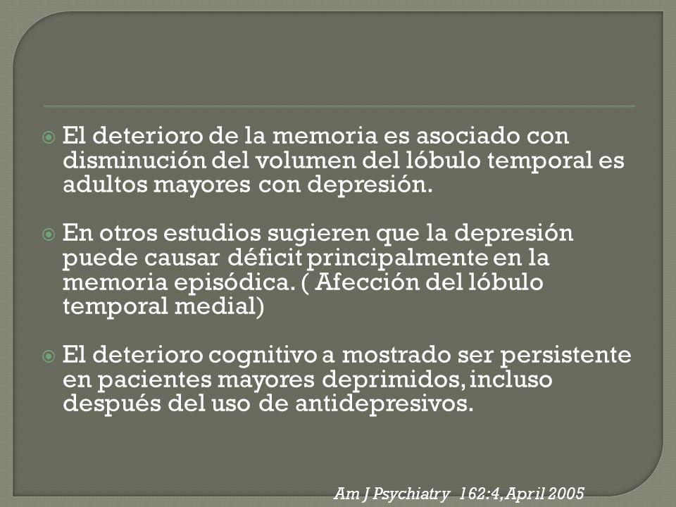 El deterioro de la memoria es asociado con disminución del volumen del lóbulo temporal es adultos mayores con depresión. En otros estudios sugieren qu
