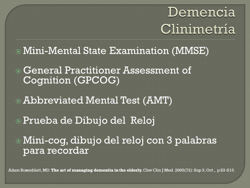 Mini-Mental State Examination (MMSE) General Practitioner Assessment of Cognition (GPCOG) Abbreviated Mental Test (AMT) Prueba de Dibujo del Reloj Min