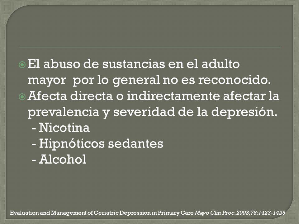 El abuso de sustancias en el adulto mayor por lo general no es reconocido. Afecta directa o indirectamente afectar la prevalencia y severidad de la de