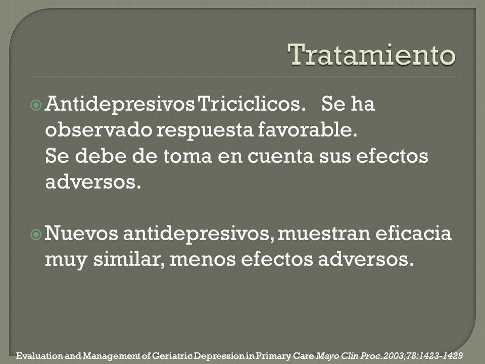 Antidepresivos Triciclicos. Se ha observado respuesta favorable. Se debe de toma en cuenta sus efectos adversos. Nuevos antidepresivos, muestran efica