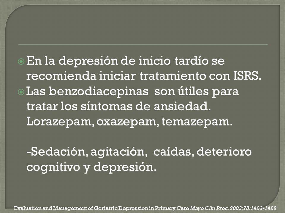 En la depresión de inicio tardío se recomienda iniciar tratamiento con ISRS. Las benzodiacepinas son útiles para tratar los síntomas de ansiedad. Lora