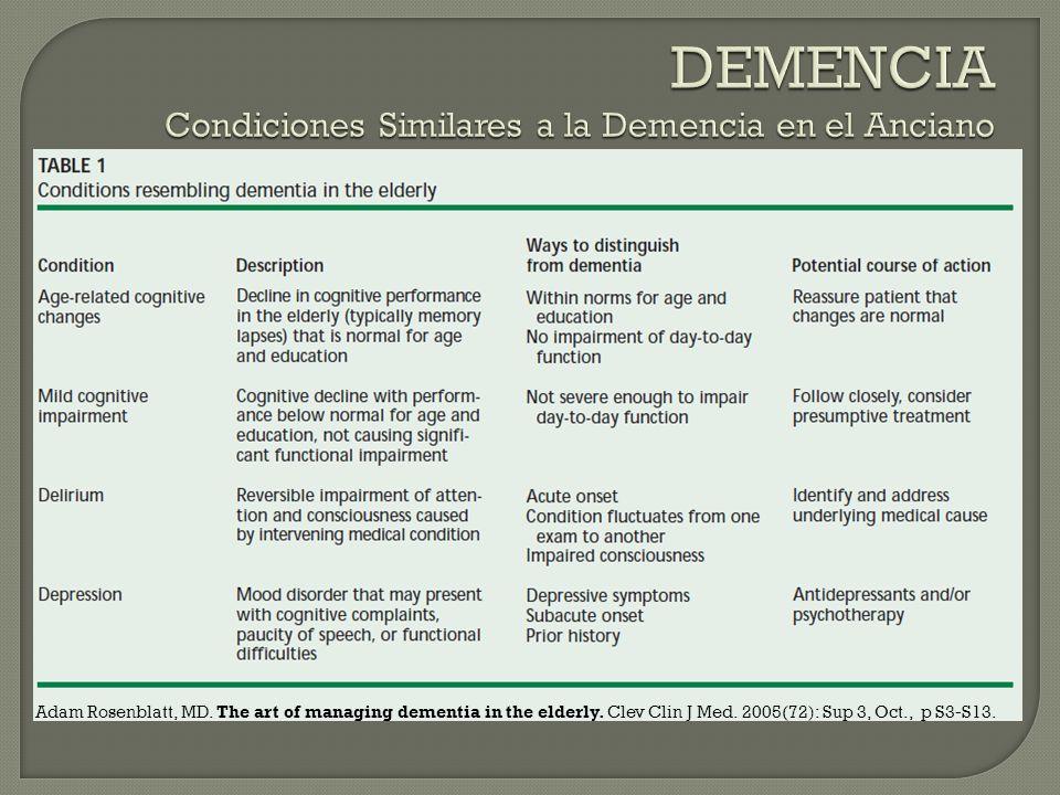 Criterios NINCDS-ADRDA Demencia establecida a por clínica y por exámenes objetivos (ej MMSE).