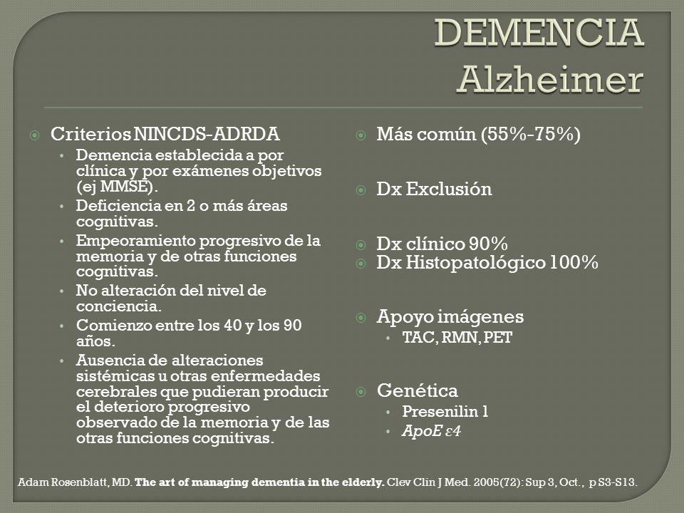 Criterios NINCDS-ADRDA Demencia establecida a por clínica y por exámenes objetivos (ej MMSE). Deficiencia en 2 o más áreas cognitivas. Empeoramiento p