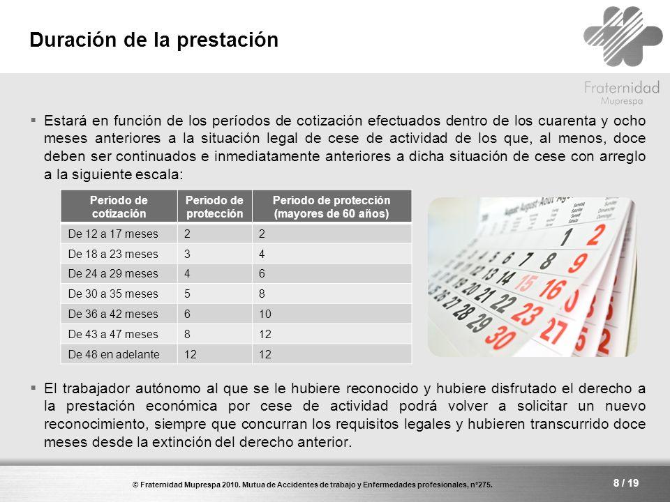 © Fraternidad Muprespa 2010.Mutua de Accidentes de trabajo y Enfermedades profesionales, nº275.