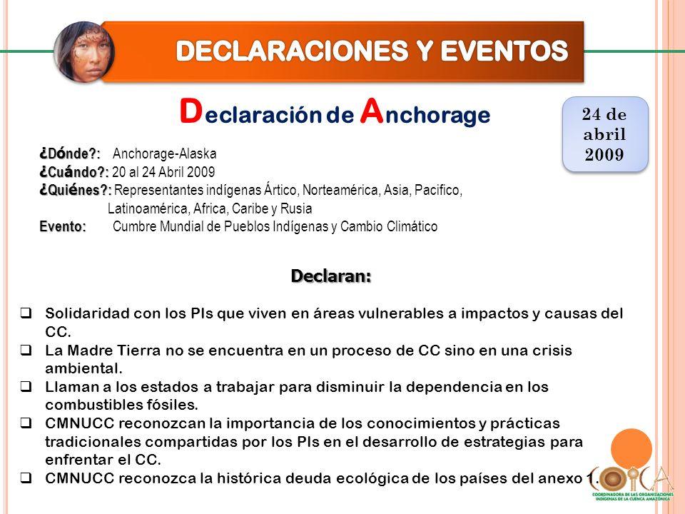 D eclaración de A nchorage 24 de abril 2009 24 de abril 2009 Declaran: Solidaridad con los PIs que viven en áreas vulnerables a impactos y causas delC