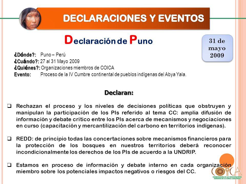 D eclaración de P uno 31 de mayo 2009 31 de mayo 2009 Declaran: Rechazan el proceso y los niveles de decisiones políticas que obstruyen y manipulan la