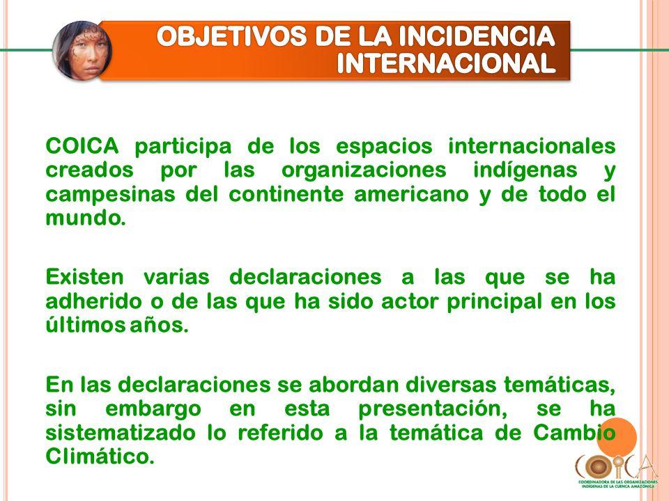 COICA participa de los espacios internacionales creados por las organizaciones indígenas y campesinas del continente americano y de todo el mundo. Exi