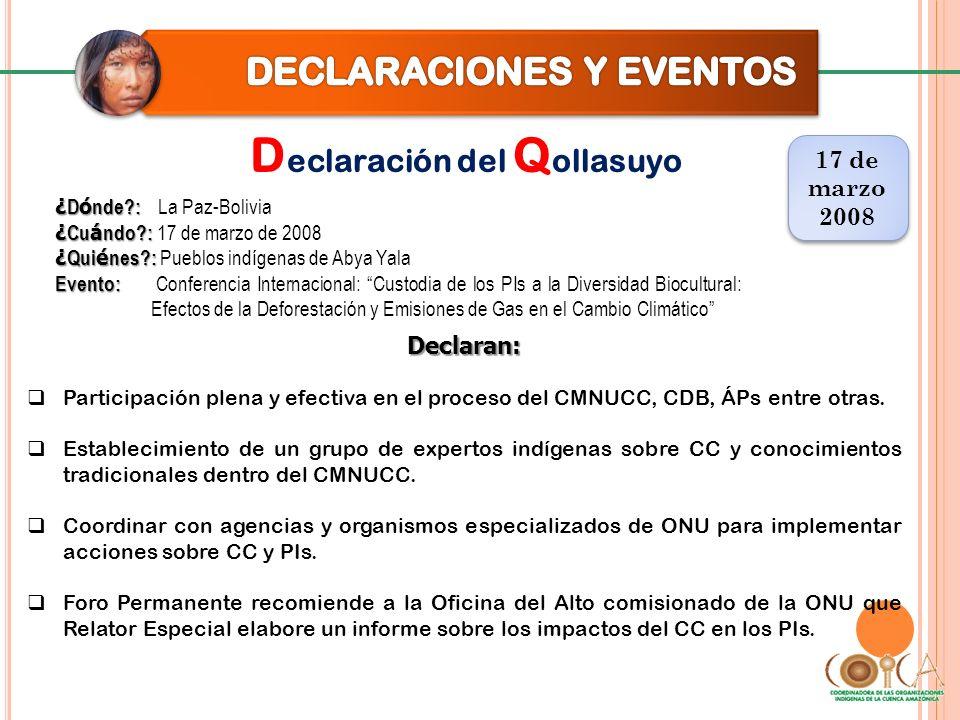 D eclaración del Q ollasuyo 17 de marzo 2008 17 de marzo 2008 Declaran: Proyectos y programas relacionados a CC y adaptación deben ser Pleno respeto a los derechos colectivos de los PIs.