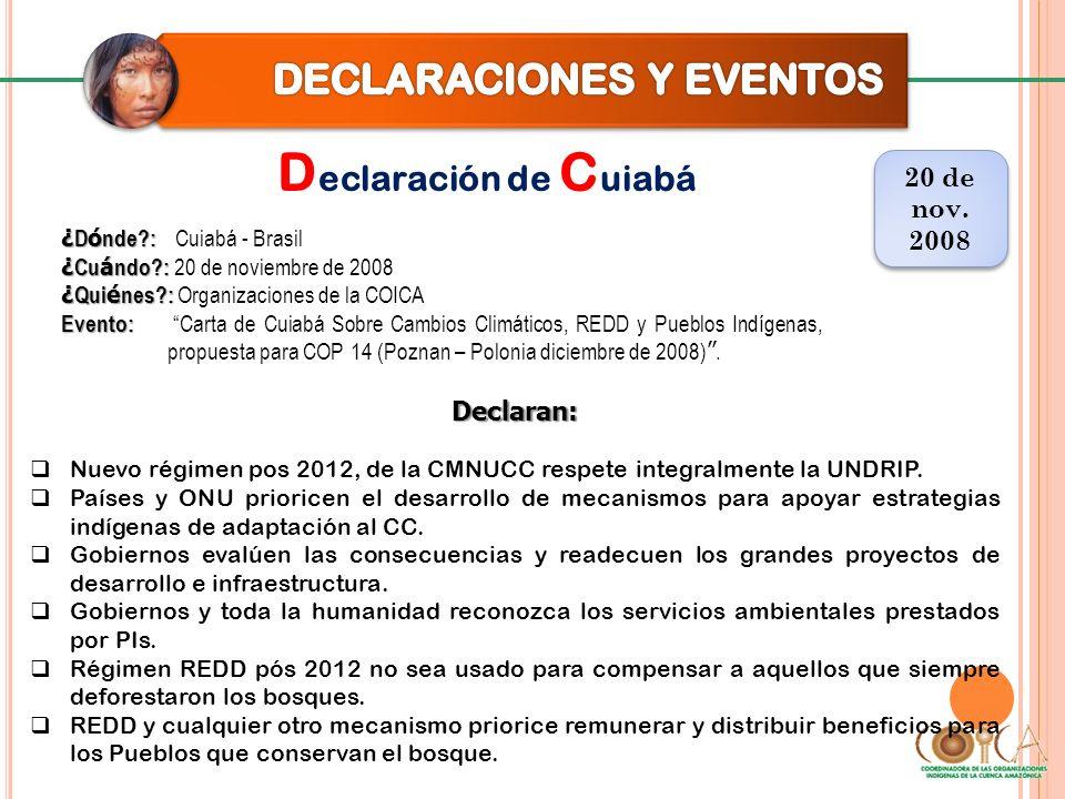 D eclaración de C uiabá 20 de nov. 2008 20 de nov. 2008 Declaran: Nuevo régimen pos 2012, de la CMNUCC respete integralmente la UNDRIP. Países y ONU p