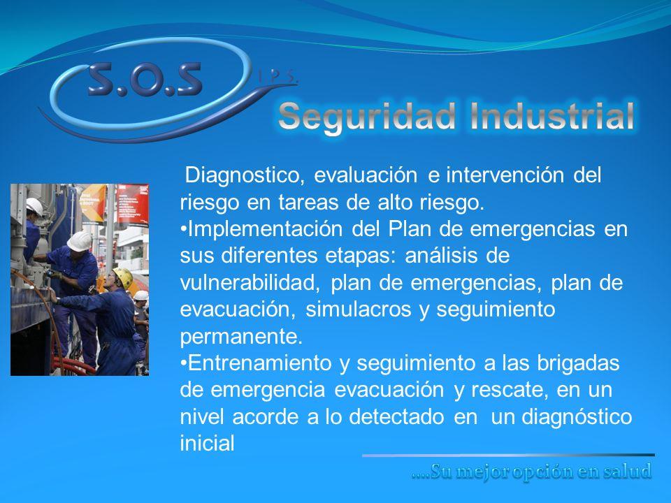 Diagnostico, evaluación e intervención del riesgo en tareas de alto riesgo. Implementación del Plan de emergencias en sus diferentes etapas: análisis