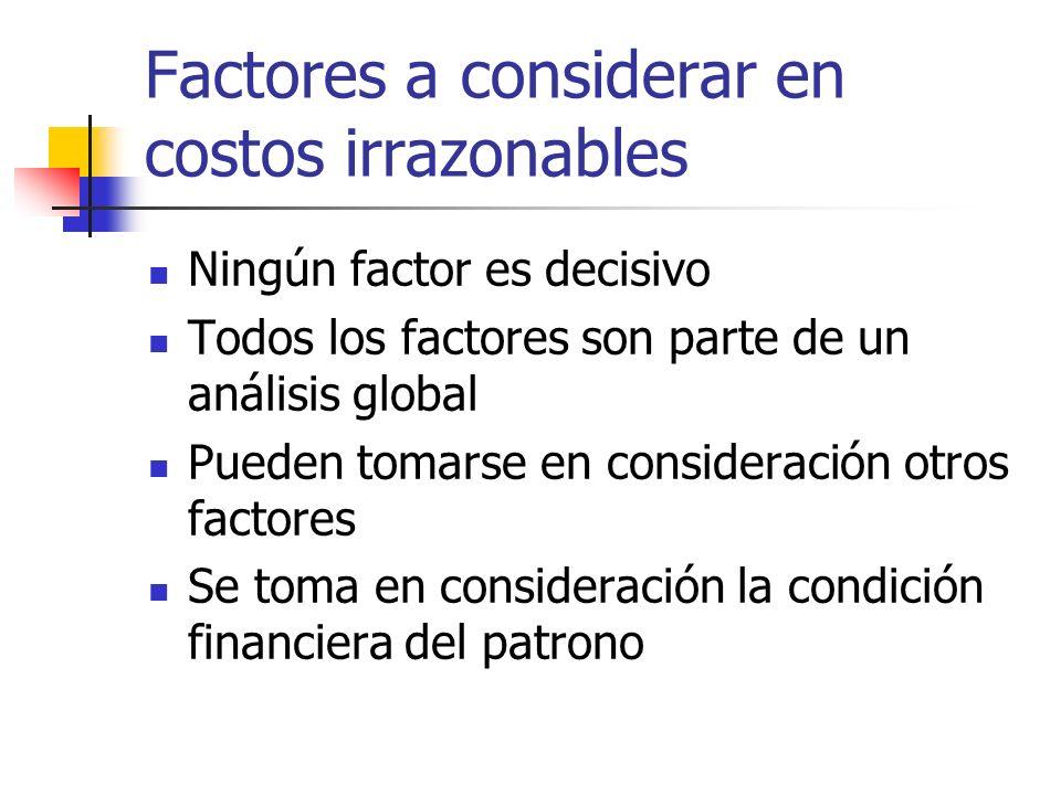 Factores a considerar en costos irrazonables Ningún factor es decisivo Todos los factores son parte de un análisis global Pueden tomarse en considerac