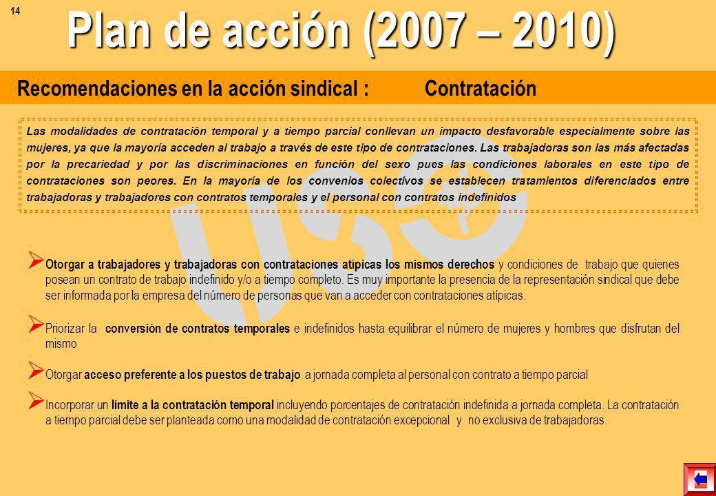 Recomendaciones en la acción sindical : Acceso al empleo Establecer cuotas de ingreso anuales en la empresa para las mujeres, hasta que la plantilla s
