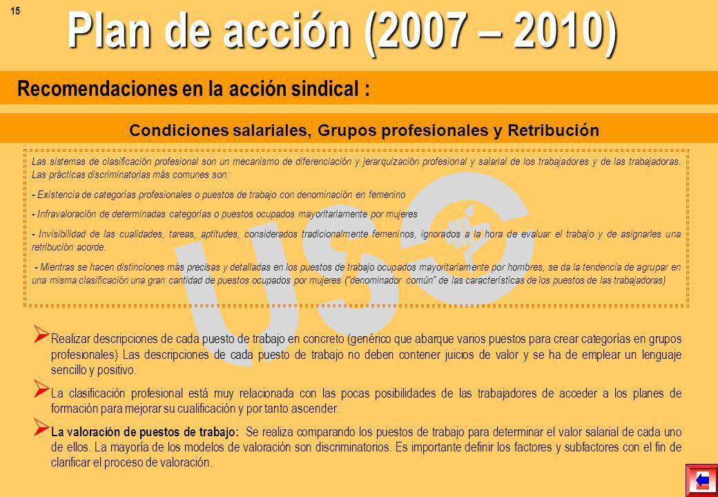 Recomendaciones en la acción sindical : Contratación Otorgar a trabajadores y trabajadoras con contrataciones atípicas los mismos derechos y condicion