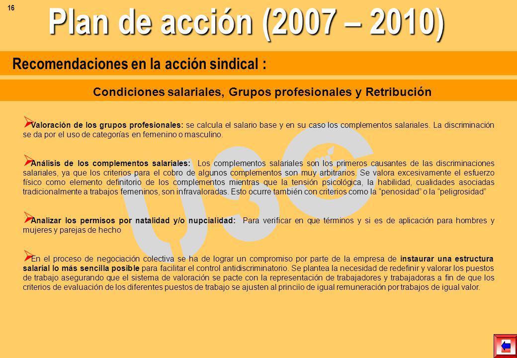 Recomendaciones en la acción sindical : Las sistemas de clasificación profesional son un mecanismo de diferenciación y jerarquización profesional y sa