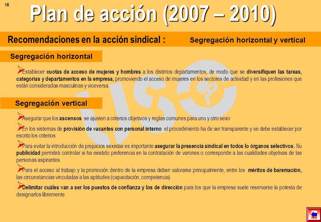 Recomendaciones en la acción sindical : Formación Asegurar que las convocatorias para los cursos de formación sean conocidos por todo el personal, a t