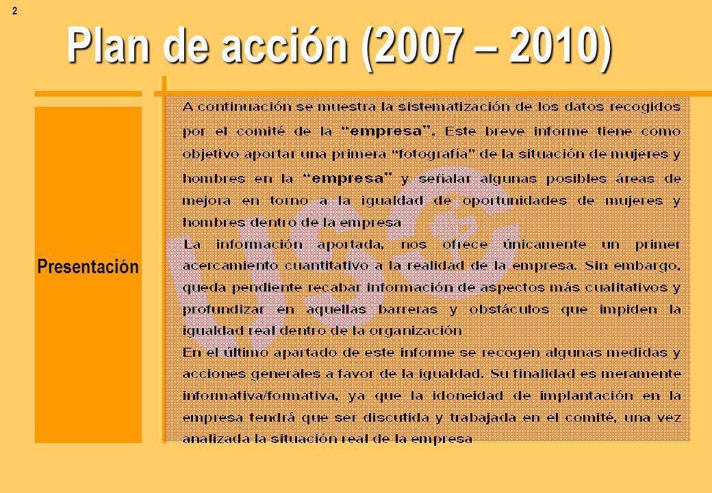 Plan de acción (2007 – 2010) Índice A) A) -Toma de datos numéricos B) B) - Ampliación de datos conceptual C) C) - Recomendaciones para la acción sindi