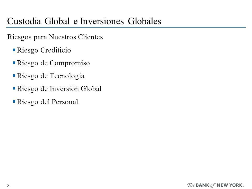 2 Custodia Global e Inversiones Globales Riesgos para Nuestros Clientes Riesgo Crediticio Riesgo de Compromiso Riesgo de Tecnología Riesgo de Inversión Global Riesgo del Personal