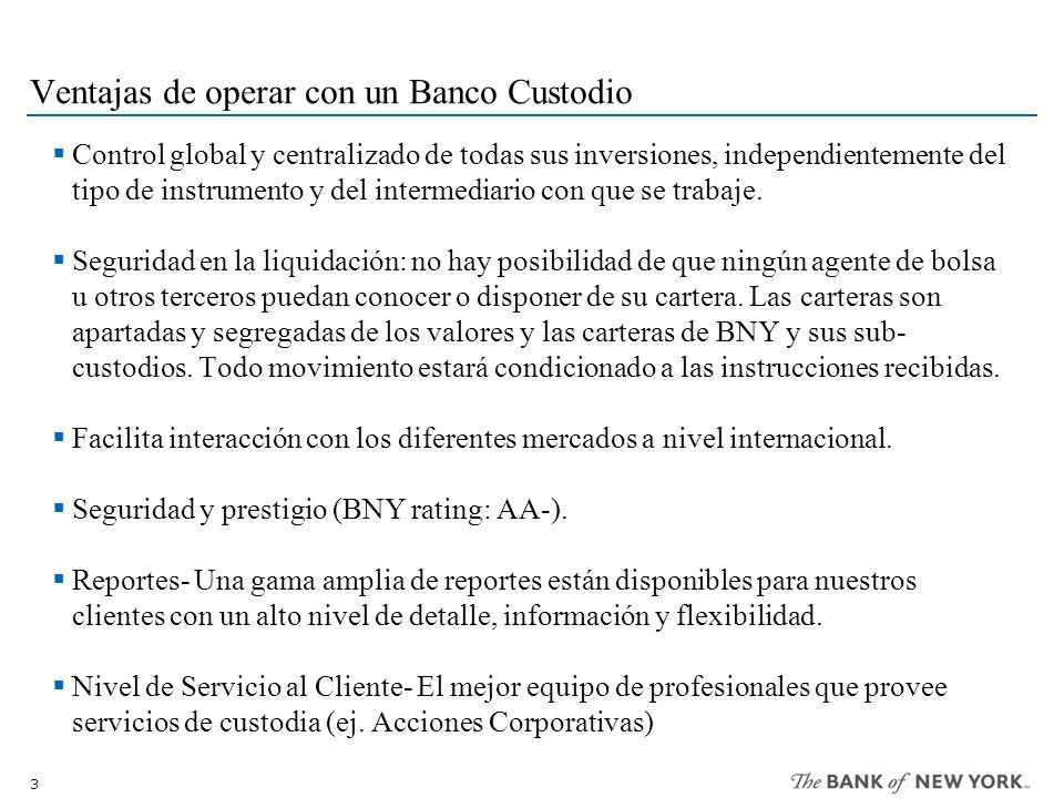 3 Ventajas de operar con un Banco Custodio Control global y centralizado de todas sus inversiones, independientemente del tipo de instrumento y del in