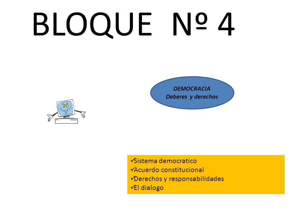 BLOQUE Nº 4 DEMOCRACIA Deberes y derechos Sistema democratico Acuerdo constitucional Derechos y responsabilidades El dialogo