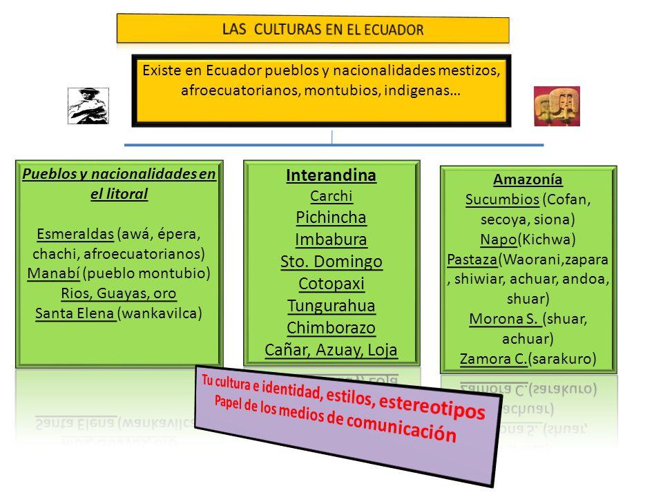 Existe en Ecuador pueblos y nacionalidades mestizos, afroecuatorianos, montubios, indigenas…