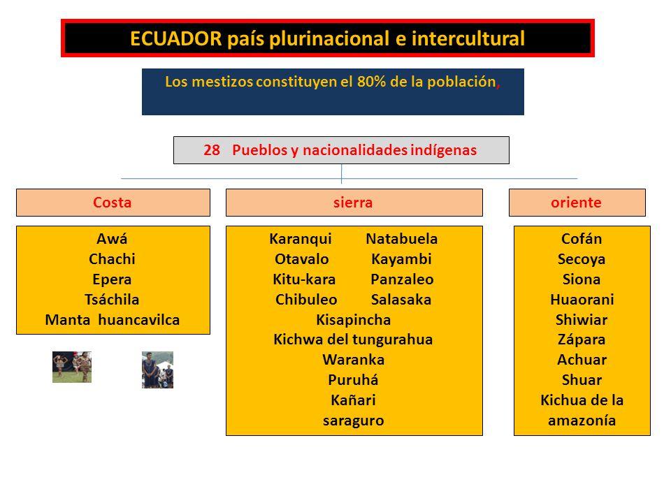 ECUADOR país plurinacional e intercultural Los mestizos constituyen el 80% de la población, 28 Pueblos y nacionalidades indígenas sierraCostaoriente A