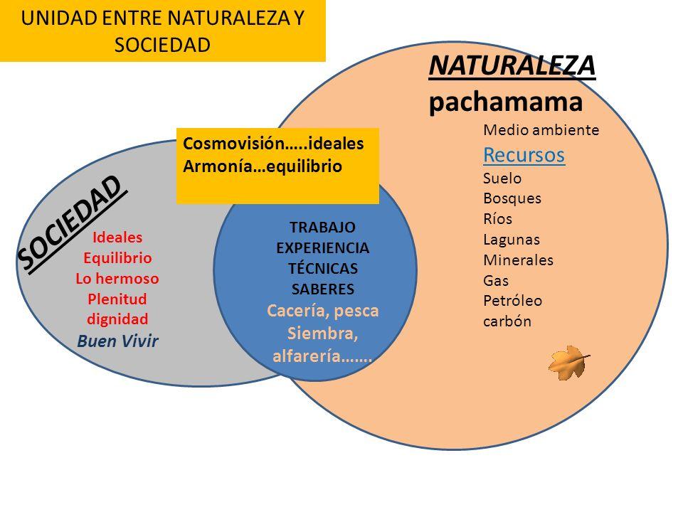 NATURALEZA pachamama SOCIEDAD UNIDAD ENTRE NATURALEZA Y SOCIEDAD Medio ambiente Recursos Suelo Bosques Ríos Lagunas Minerales Gas Petróleo carbón Idea