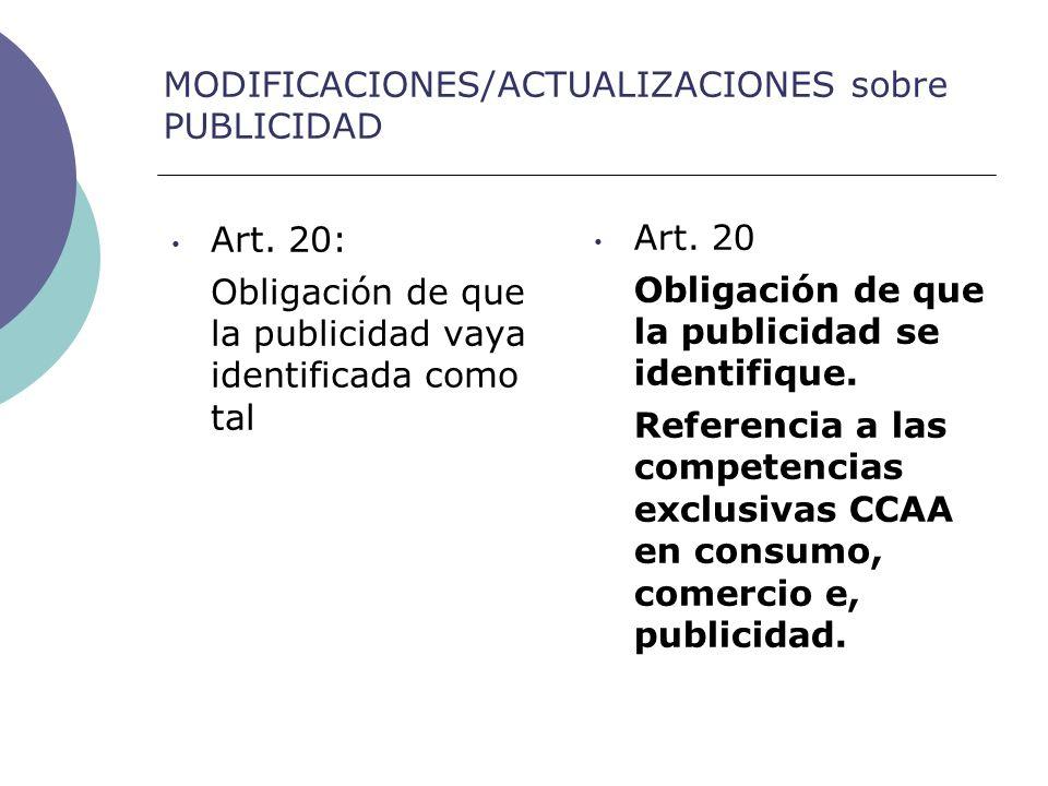 MODIFICACIONES/ACTUALIZACIONES sobre PUBLICIDAD Art.