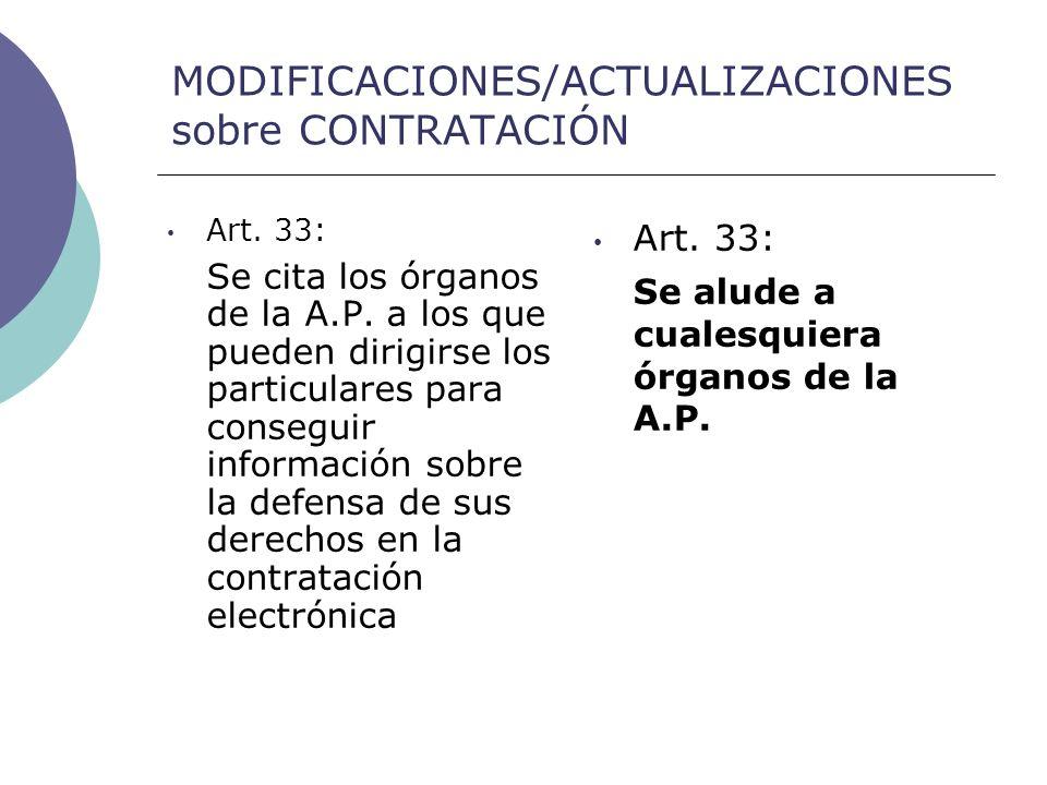 MODIFICACIONES/ACTUALIZACIONES sobre CONTRATACIÓN Art.