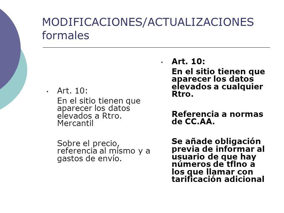 MODIFICACIONES/ACTUALIZACIONES formales Art.