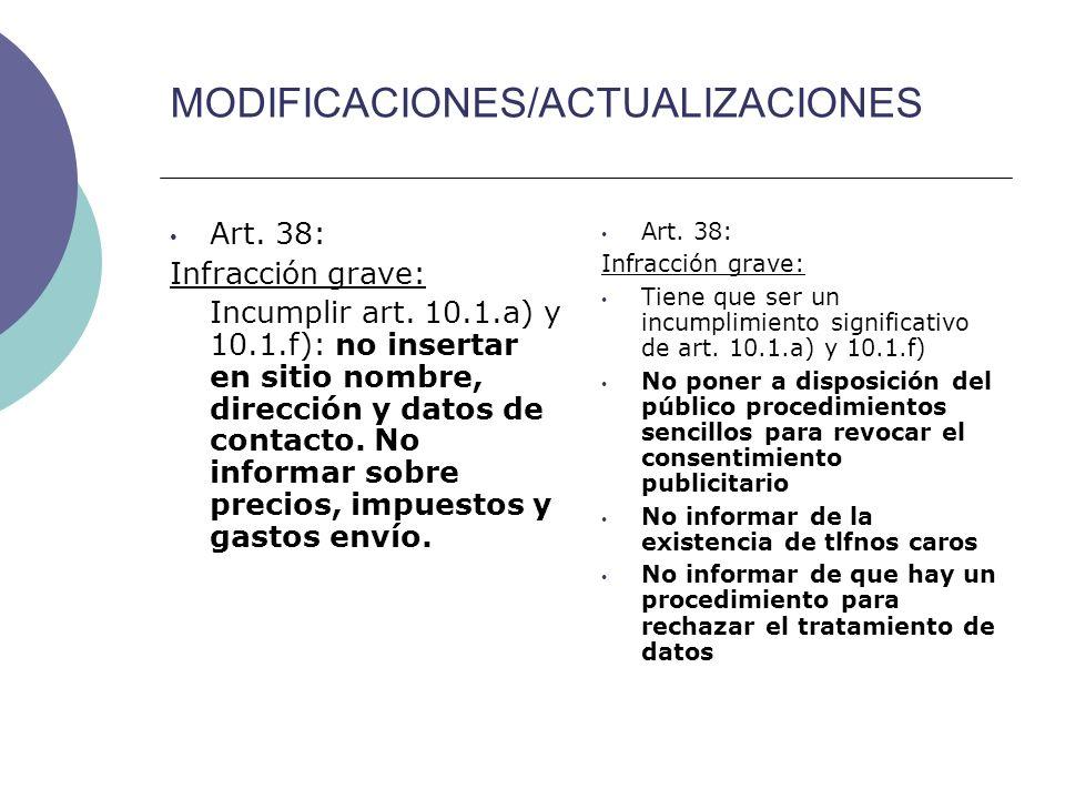 MODIFICACIONES/ACTUALIZACIONES Art. 38: Infracción grave: Incumplir art.