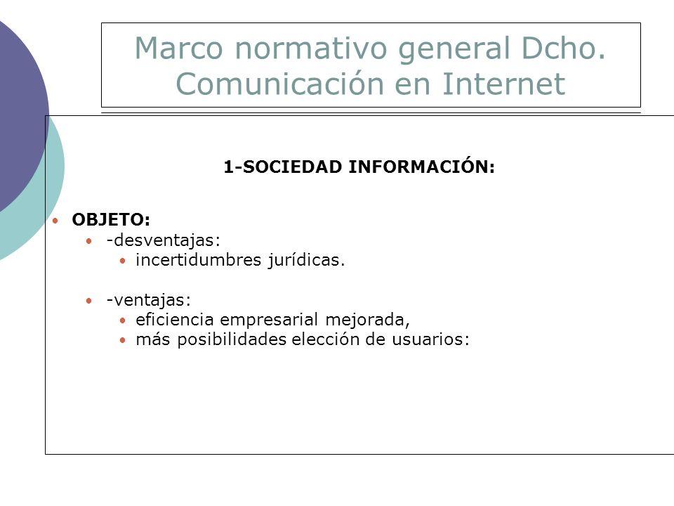 Marco normativo general Dcho.Comunicación en Internet ámbito objetivo general sometido al pr.