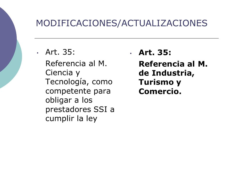 MODIFICACIONES/ACTUALIZACIONES Art. 35: Referencia al M.