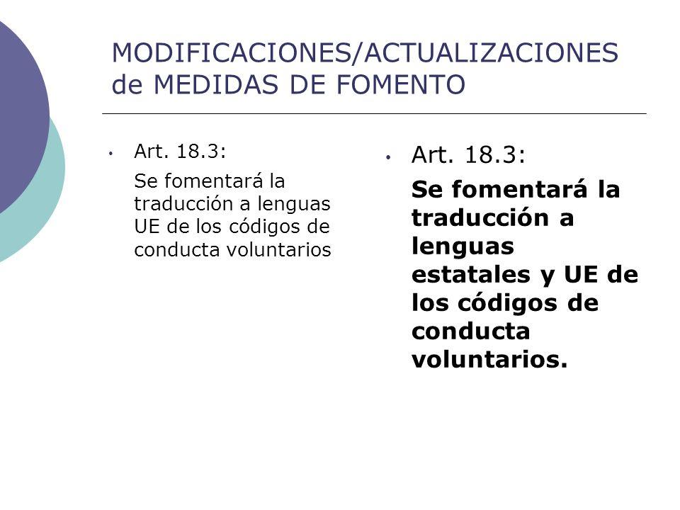 MODIFICACIONES/ACTUALIZACIONES de MEDIDAS DE FOMENTO Art.