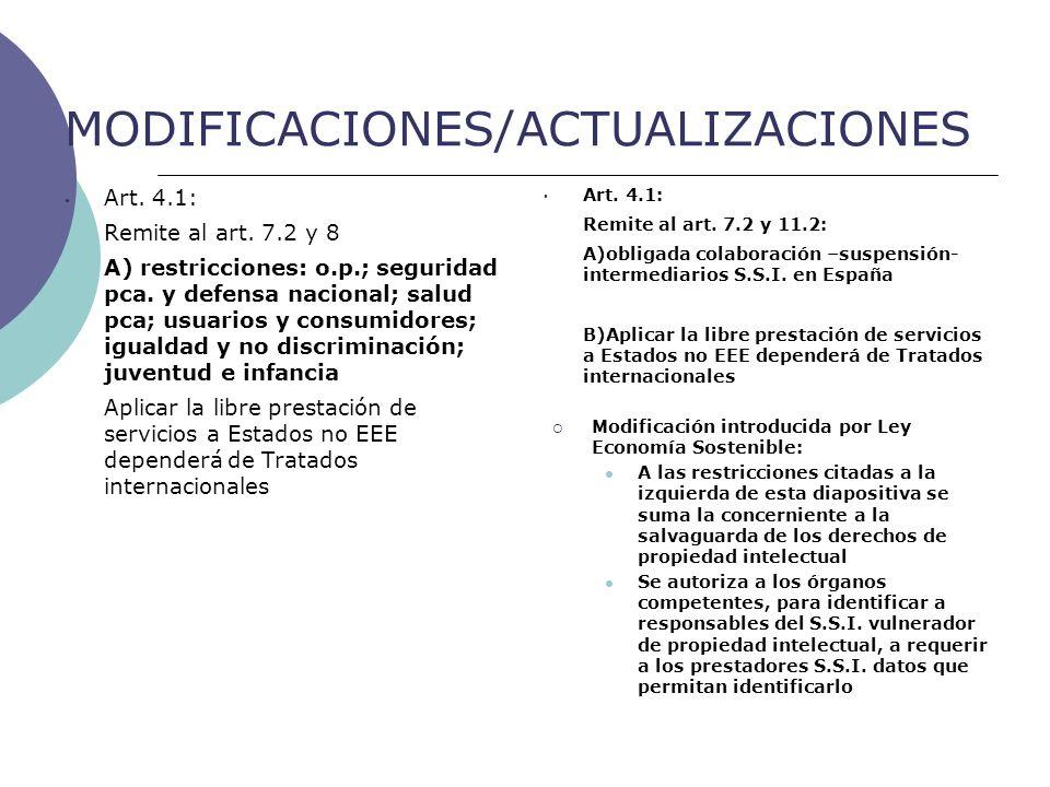 MODIFICACIONES/ACTUALIZACIONES Art. 4.1: Remite al art.