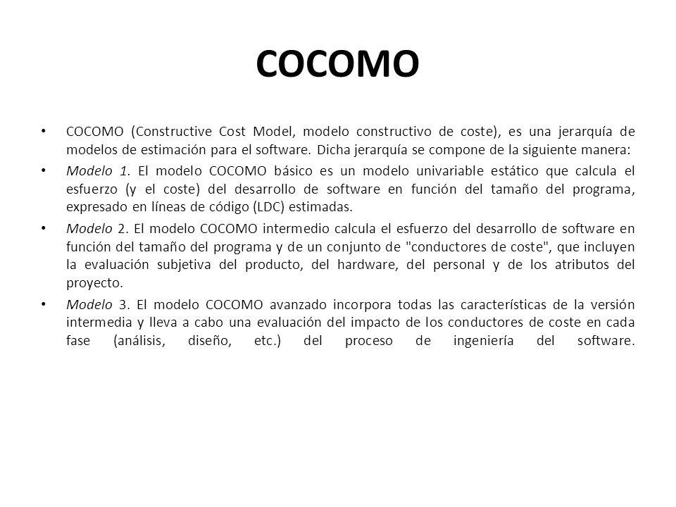 COCOMO COCOMO (Constructive Cost Model, modelo constructivo de coste), es una jerarquía de modelos de estimación para el software. Dicha jerarquía se