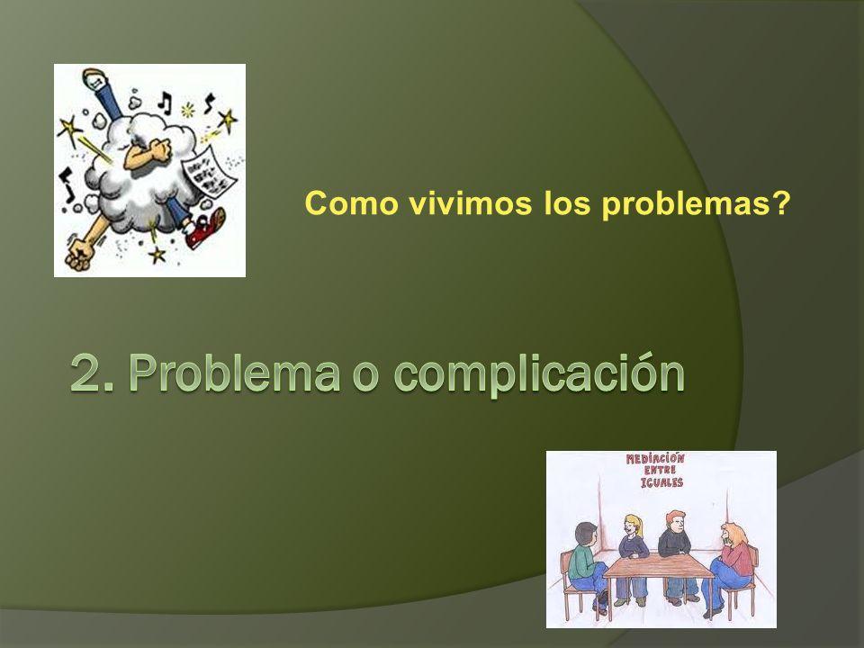 Ejercicios Dinámica 1: Distingue entre problemas (externos) y complicaciones (internas) Dinámica 2: Busca frases indicadoras de problemas o complicaci