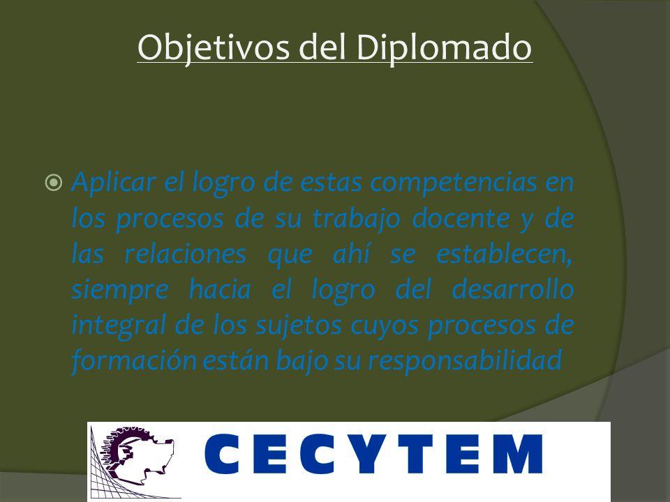 Objetivos del Diplomado Proporcionar al participante las herramientas necesarias para reconocer y desarrollar sus capacidades personales y las de los