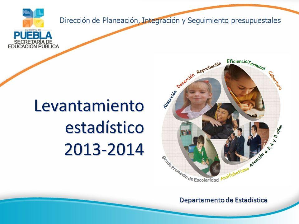 Levantamiento estadístico 2013-2014 Departamento de Estadística Dirección de Planeación, Integración y Seguimiento presupuestales