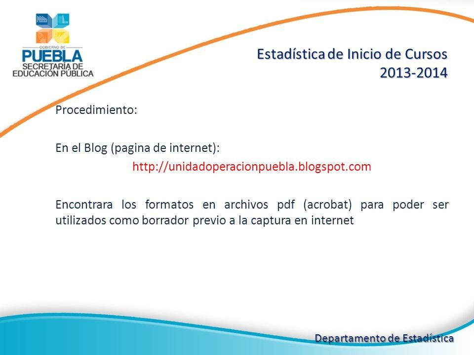 Procedimiento: En el Blog (pagina de internet): http://unidadoperacionpuebla.blogspot.com Encontrara los formatos en archivos pdf (acrobat) para poder