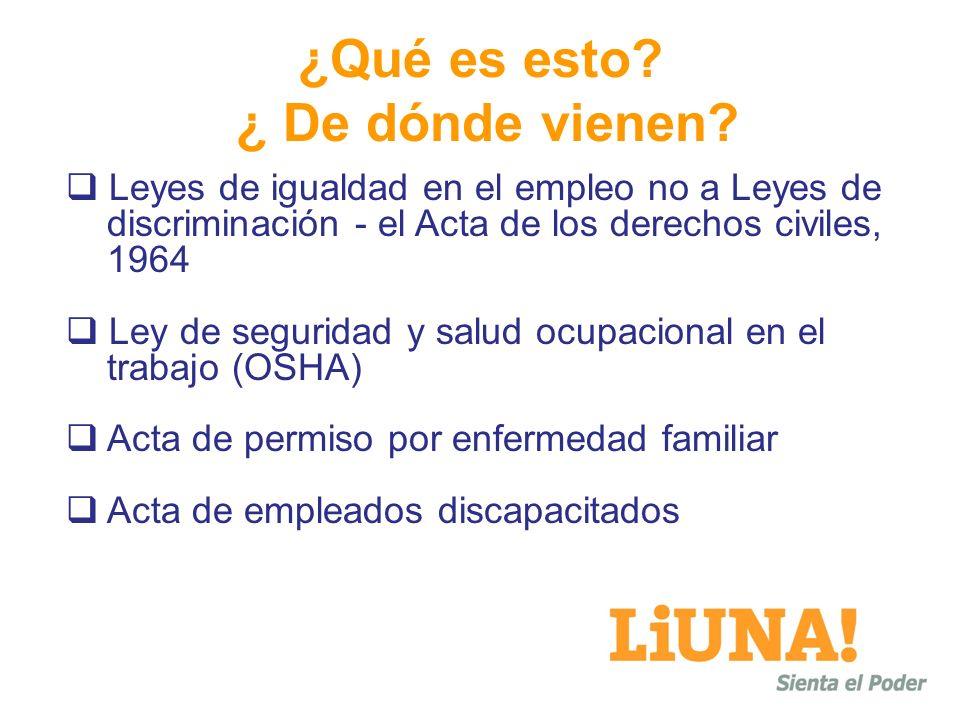 Leyes de igualdad en el empleo no a Leyes de discriminación - el Acta de los derechos civiles, 1964 Ley de seguridad y salud ocupacional en el trabajo