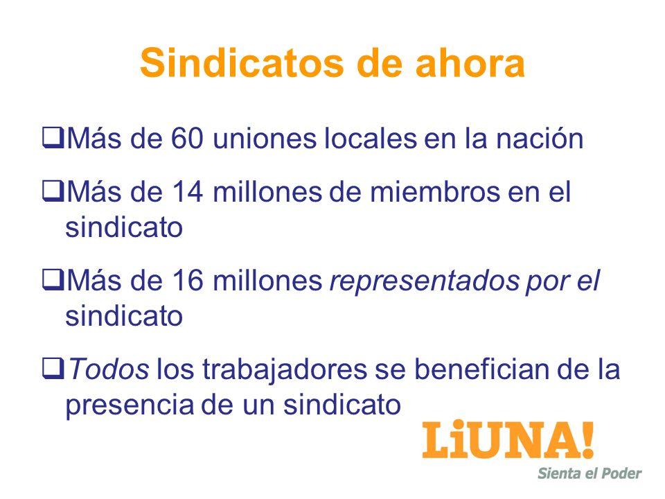 Sindicatos de ahora Más de 60 uniones locales en la nación Más de 14 millones de miembros en el sindicato Más de 16 millones representados por el sind