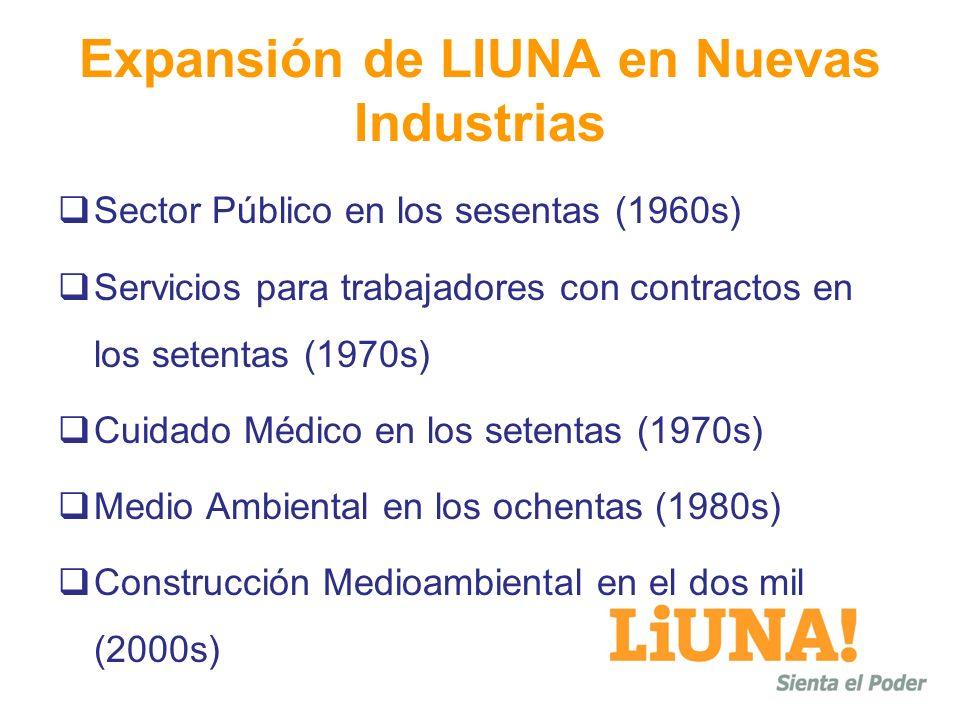 Expansión de LIUNA en Nuevas Industrias Sector Público en los sesentas (1960s) Servicios para trabajadores con contractos en los setentas (1970s) Cuid